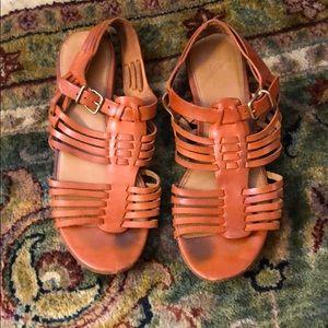 Orange J. Crew leather sandals